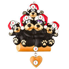 Black Bear Family of 5 - Personalized Christmas Ornament