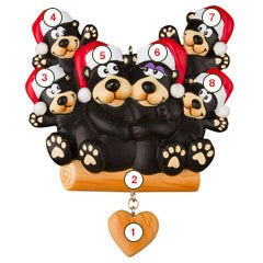 Black Bear Family of 6 - Personalized Christmas Ornament