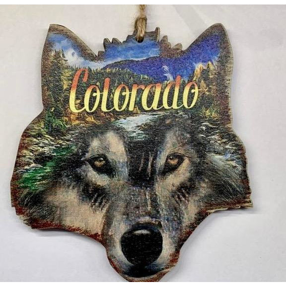Colorado Wolf Face Ornament