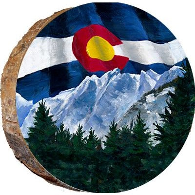 Colorado Flag with View Wood Ornament