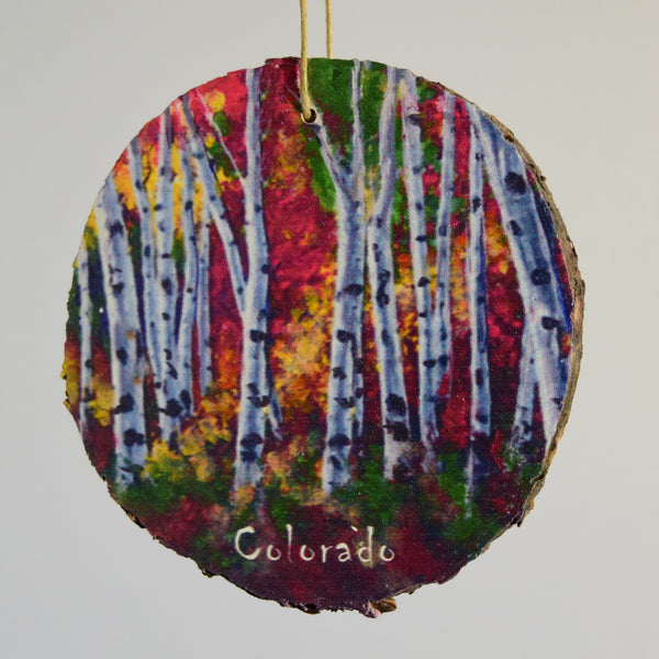 Aspen Trees Changing Color Wood Ornament