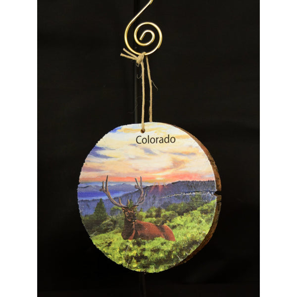 Elk Resting in Sunset Wood Ornament