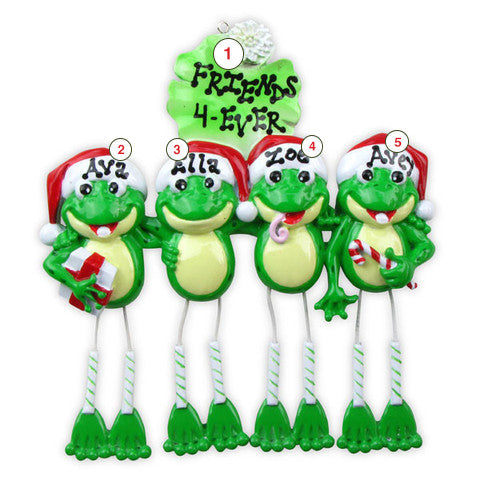Family of Frogs 4-Personalized Christmas Ornament
