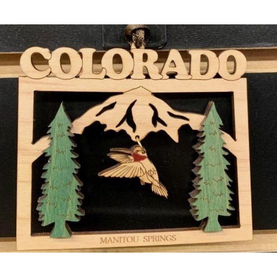 Colorado Wooden Hummingbird Ornament