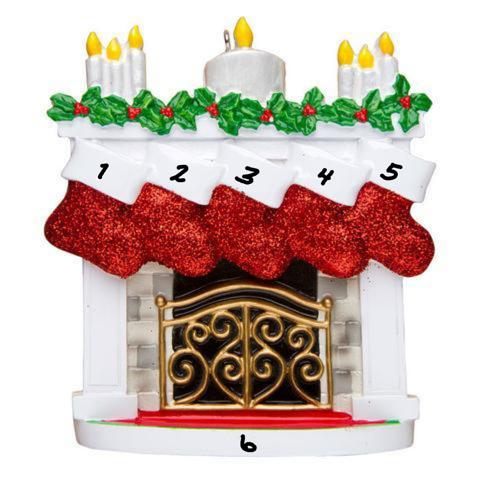 Fireplace with 5 Stockings