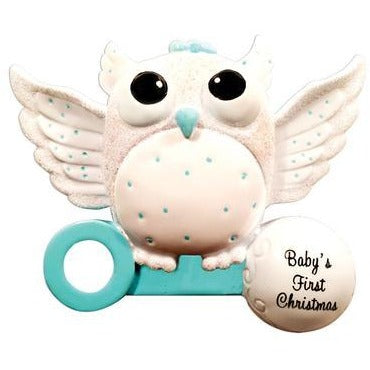Baby's First Christmas Owl Ornament - Boy or Girl