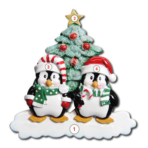 Winter Penguin Couple - Personalized Christmas Ornament