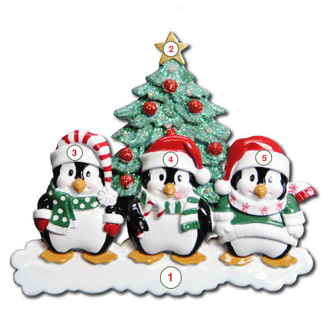 Winter Penguin Family of 3 - Personalized Christmas Ornament