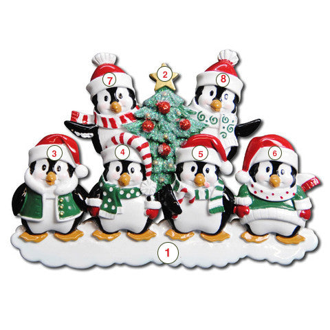 Winter Penguin Family of 6 - Personalized Christmas Ornament