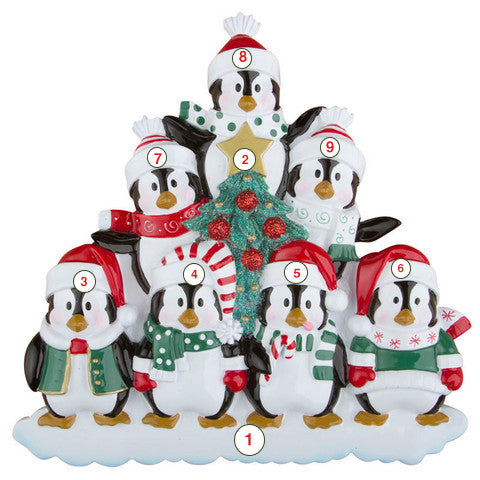 Winter Penguin Family of 7 - Personalized Christmas Ornament