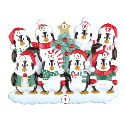 Winter Penguin Family of 8 - Personalized Christmas Ornament