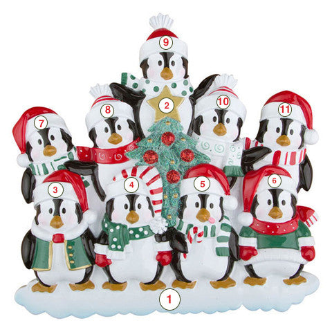 Winter Penguin Family of 9 - Personalized Christmas Ornament