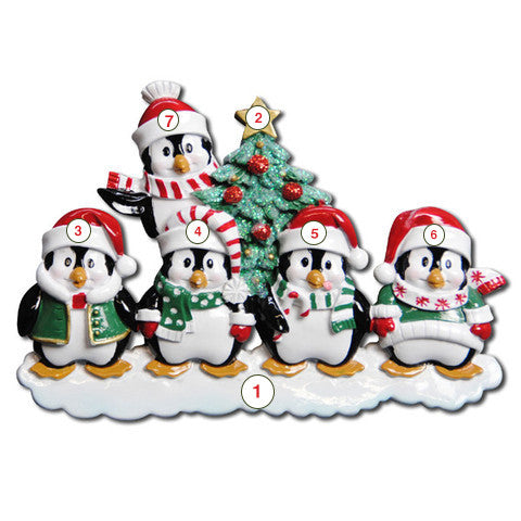 Winter Penguin Family of 5 - Personalized Christmas Ornament