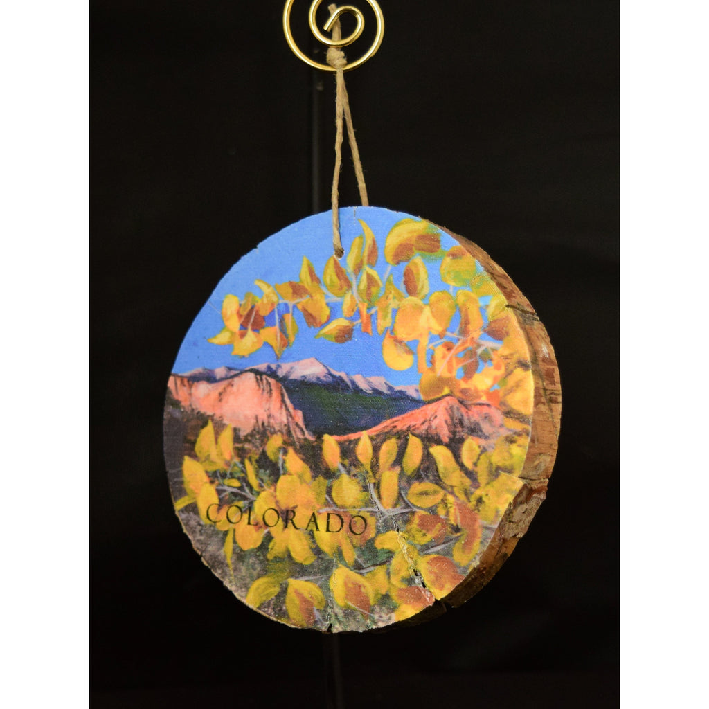 Pikes Peak with Aspen Leaves Wood Ornament