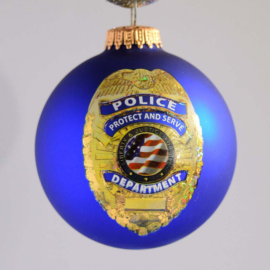 Police Glass Ornament