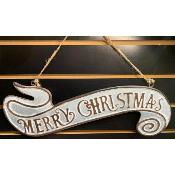 Merry Christmas Sign (Silver and Bronze)