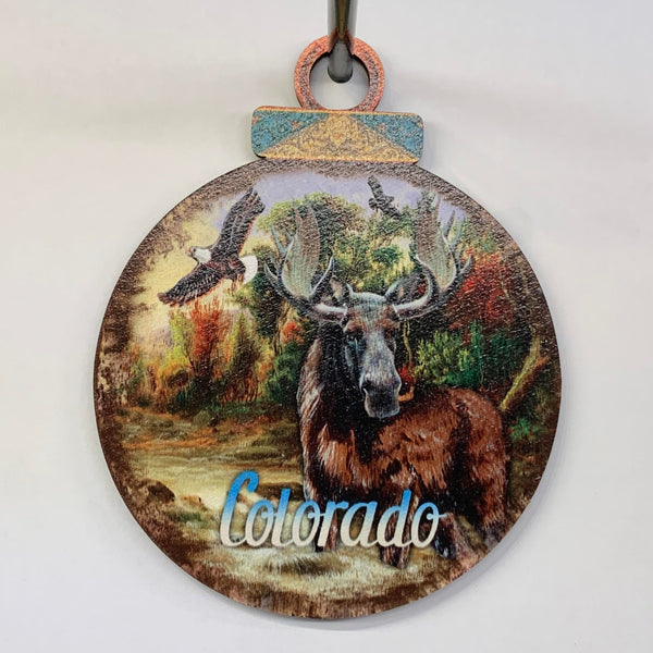 Colorado Moose Wood Ornament
