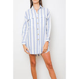 linen shirt dress + blue stripes