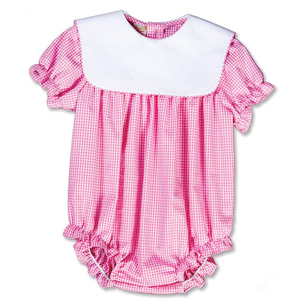 gingham girl bubble with collar + pink