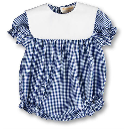 gingham girl bubble with collar + navy blue