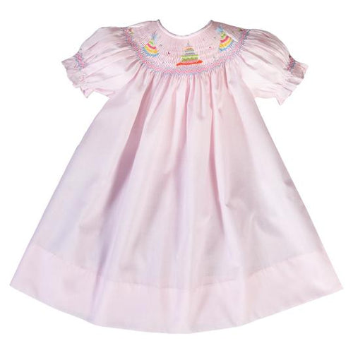 birthday party cake smocked bishop + light pink