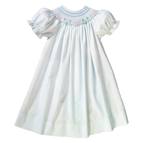 english smocked multicolor floral bishop dress + light blue