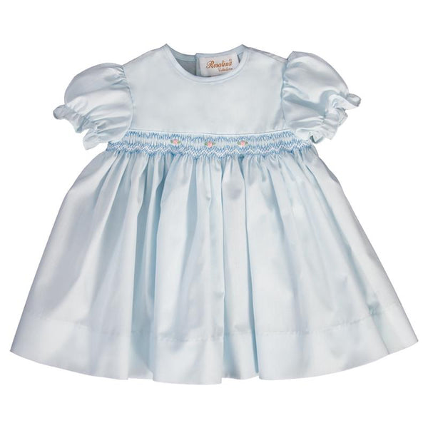 english smocked rosebud dress + light blue