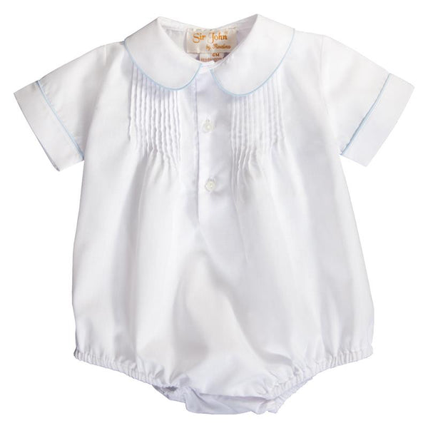 english smocked pintuck boy bubble  + white