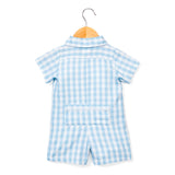 baby romper + light blue gingham
