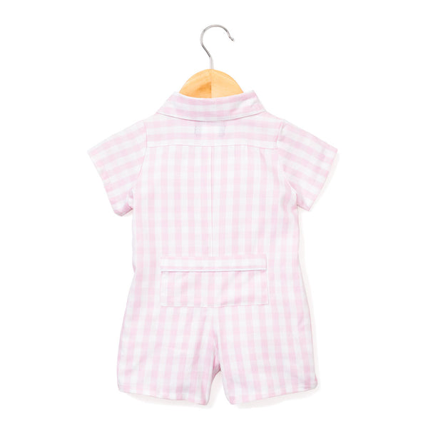baby romper + pink gingham