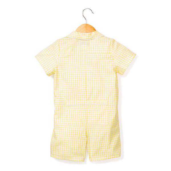 baby romper + yellow gingham