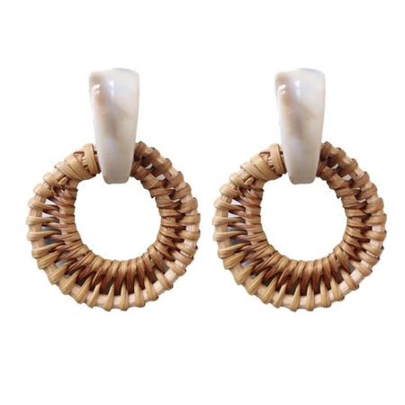 Raffia Heart Earrings + Natural
