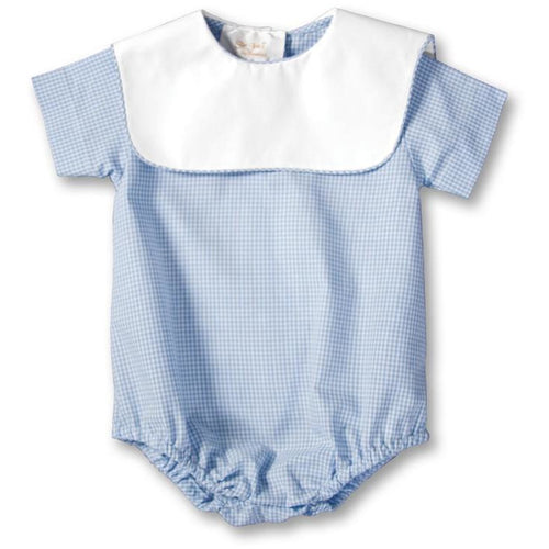 gingham boy bubble with collar + light blue