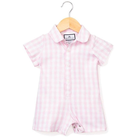 english smocked girl bubble with collar + pink