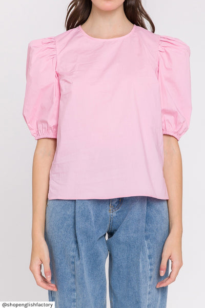 poplin puff sleeve top + pink