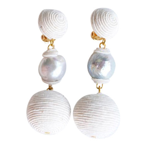 pearl silk earrings + white