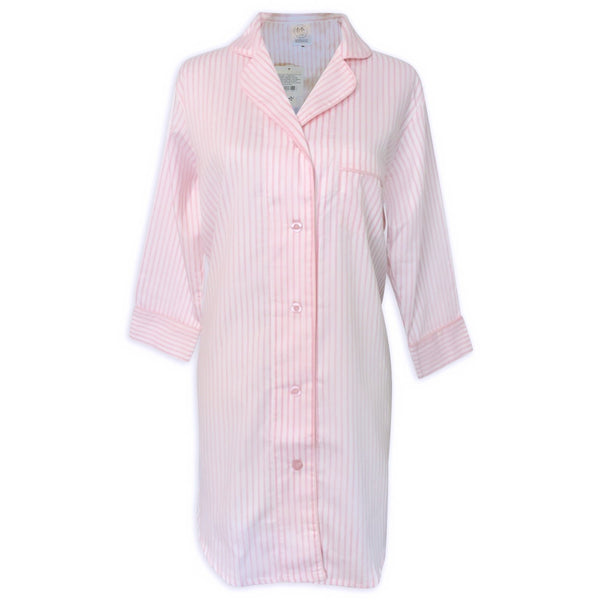 button down sleepshirt + pink stripe