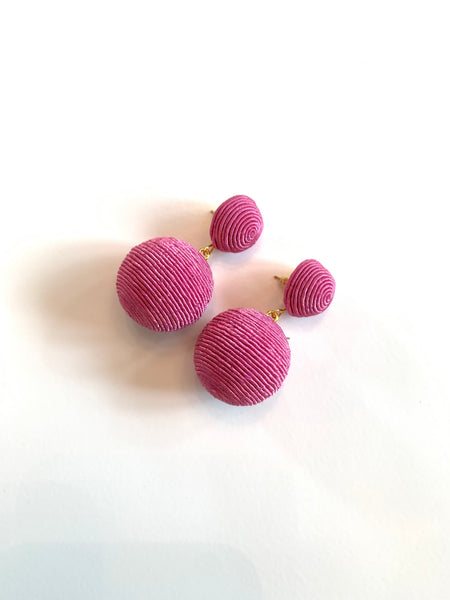 silk ball drop earrings + pink