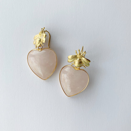 golden bee + rose quartz heart