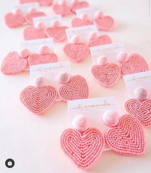 Pink Heart Beaded Earrings