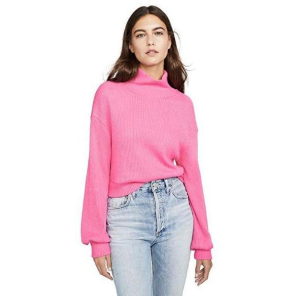 rib knit turtleneck top + hot pink