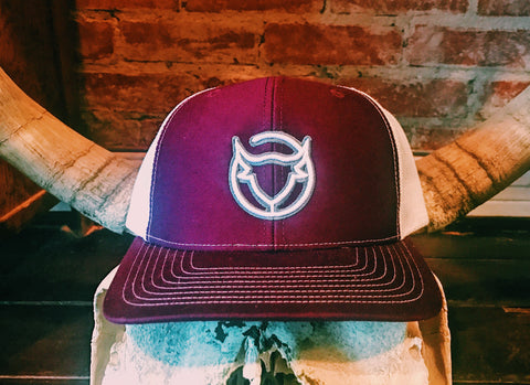 Ole' Reliable - Shadowed White & Grey Brand Maroon/White Snapback Hat