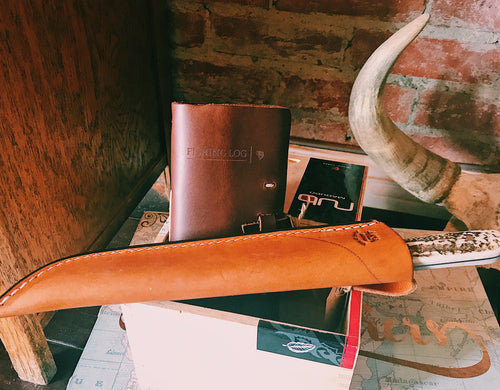knife, fish, fishing, log book, leather, gift, package, fillet,