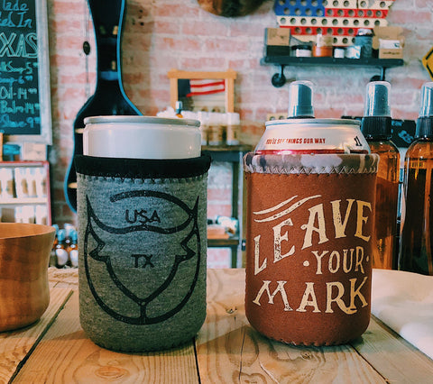Koozie - Heather Grey - Leave Your Mark - Branding Iron