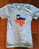Conroe Texas Tee-Multi Color Print on Athletic Blue Shirt