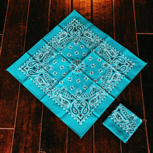 Load image into Gallery viewer, Turquoise, vintage, paisley, bandanna, head band, pocket square, handkerchief,