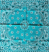 Load image into Gallery viewer, Turquoise Paisley Bandana