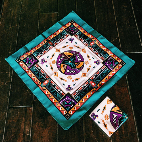 aztec, southewest, bandanna, turquoise, handkerchief, pocket square, head band