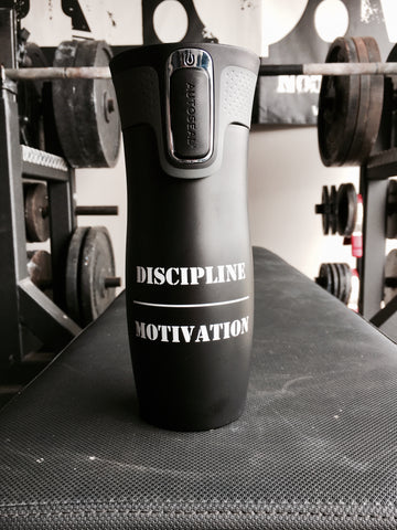 Best Leak Proof AutoSeal Travel Mug.  Discipline Over Motivation.