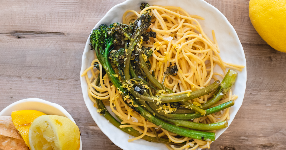 Lemon Garlic Broccolini Spaghetti